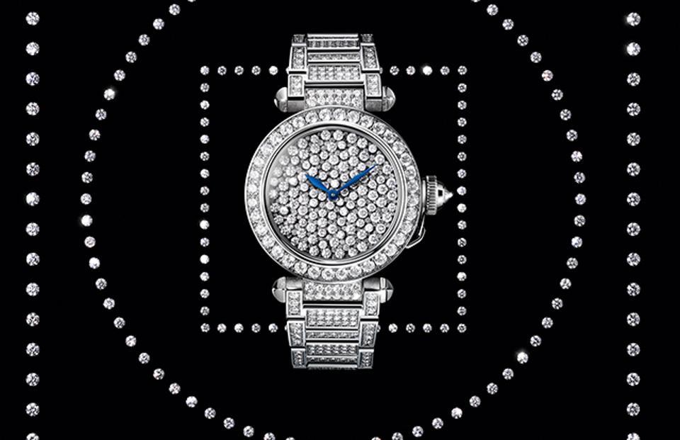 The fully diamond set Pasha de Cartier.