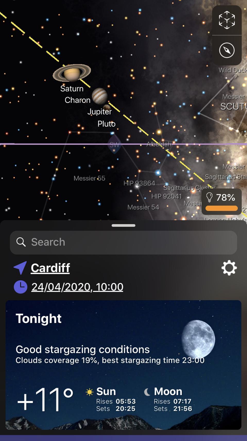 The Night Sky app.