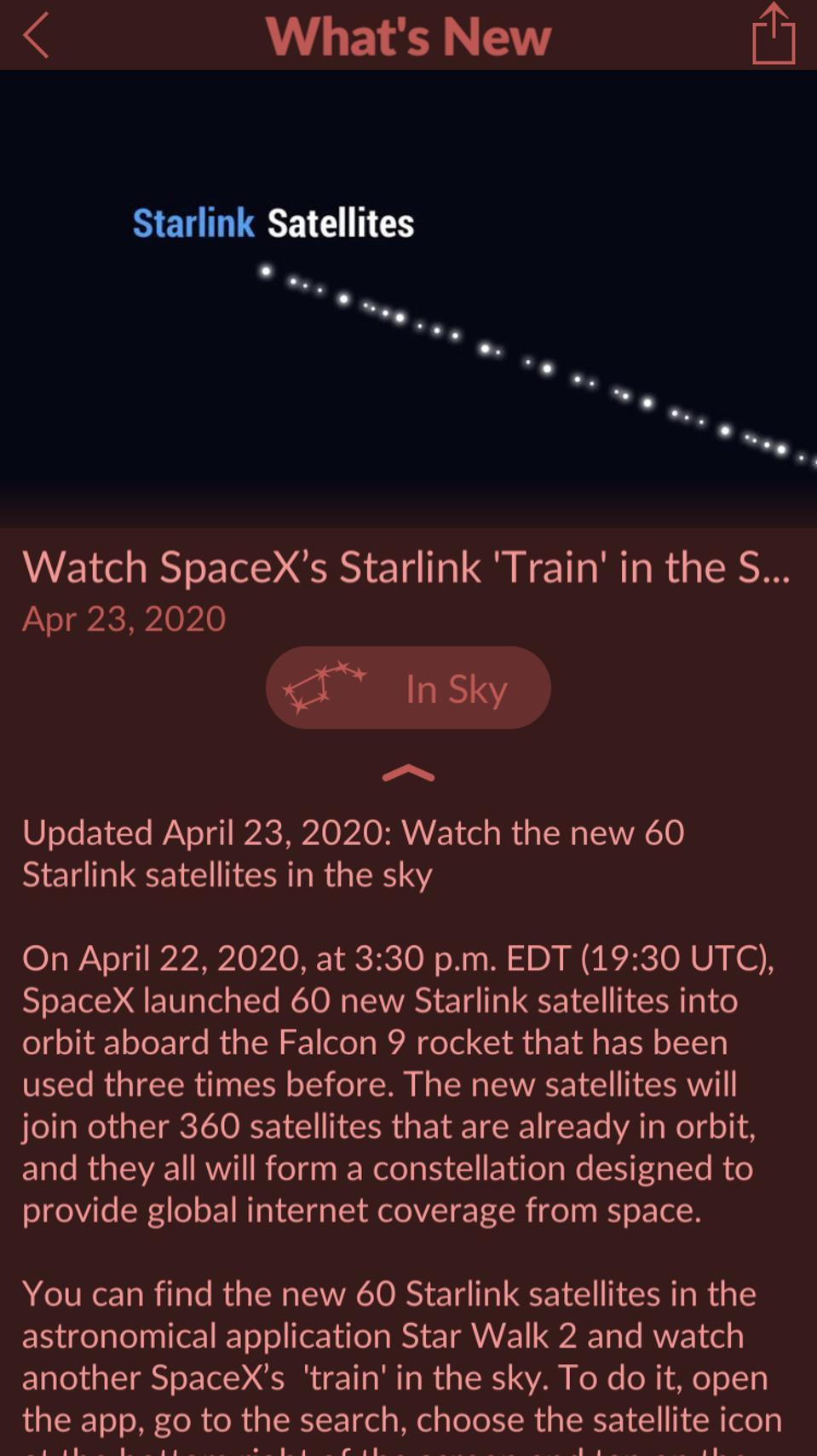 The StarWalk 2 app.