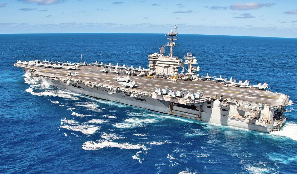 USS Theodore Roosevelt, aircraft carrier, at sea