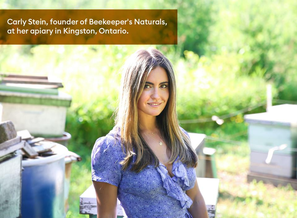 Carly Stein, founder of Beekeeper's Naturals, at her apiary in Kingston, Ontario.