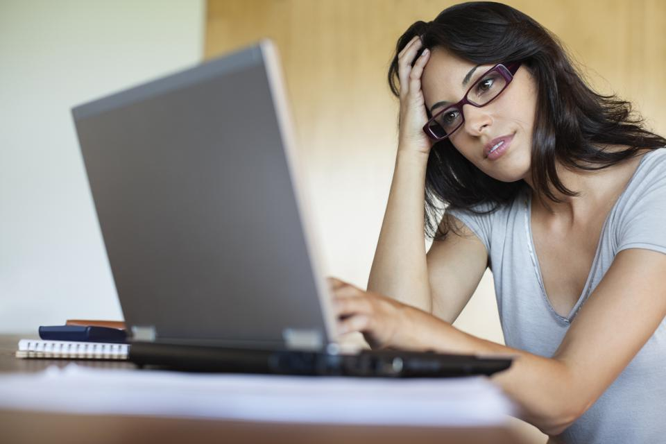 Woman working from home.