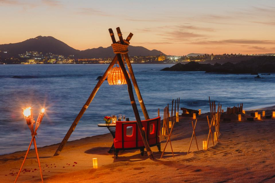 A romantic dinner set up at The Cape, in Cabo
