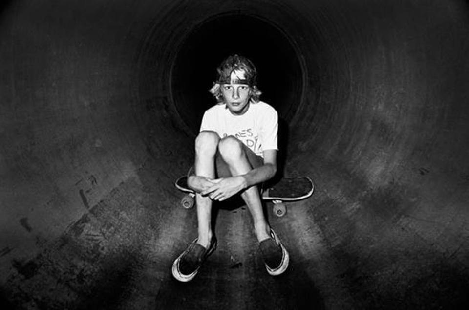 Tony Hawk in 1983 at the Sanoland ditch in Cardiff, San Diego, California.