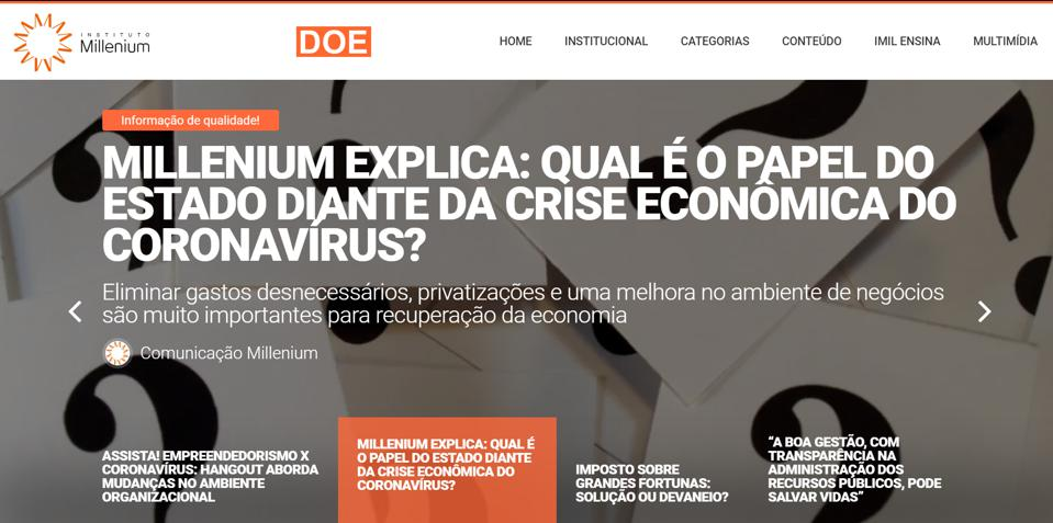 Instituto Millenium in Brazil, promotes a freer economy for the economic recovery