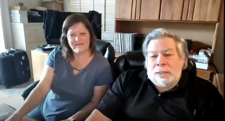 Steve Wozniak, co-founder of Apple, and his wife during our Zoom event on antibodies