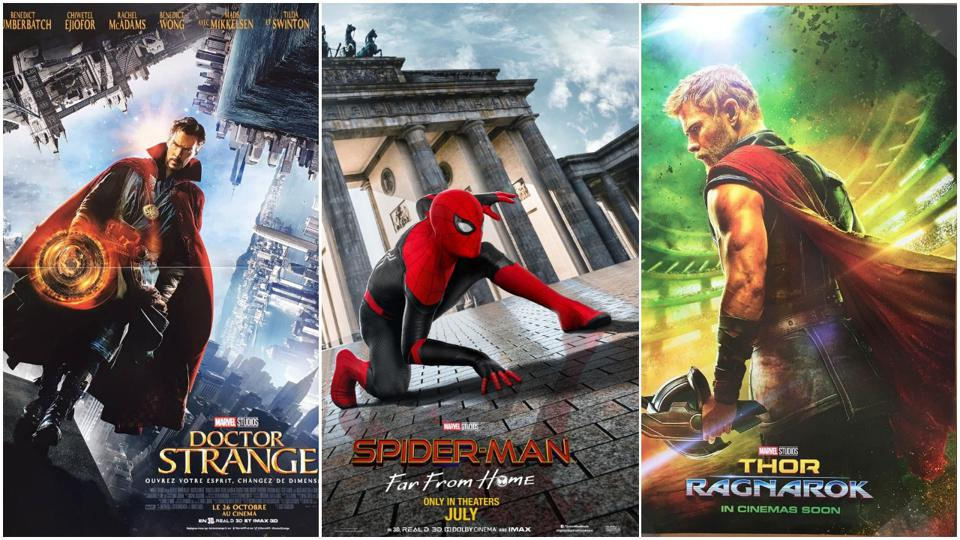 posters from 'Doctor Strange,' 'Spider-Man Far from Home' and 'Thor Ragnarok'