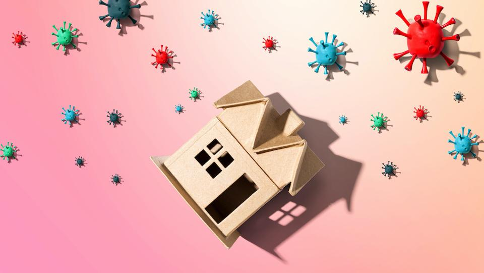 House with influenza and Coronavirus concept.