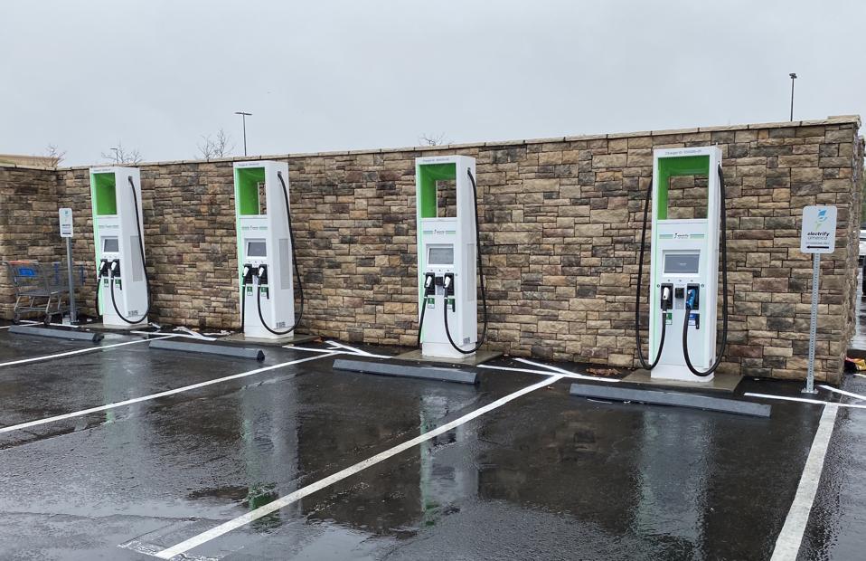 Electrify America fast chargers in Santa Clarita, Calif.