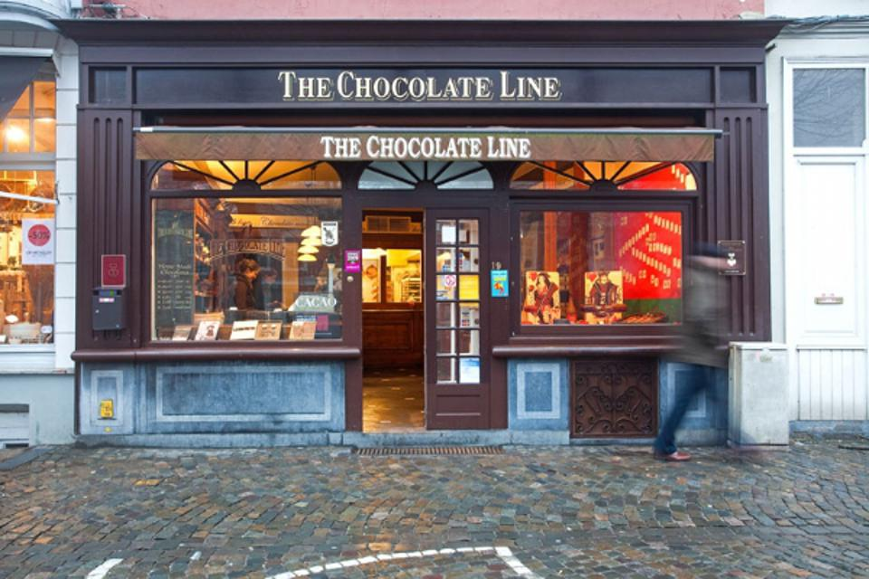 Amidst cobblestones and a pedestrian friendly shopping district, The Chocolate Line emits aromas to lure any traveler.