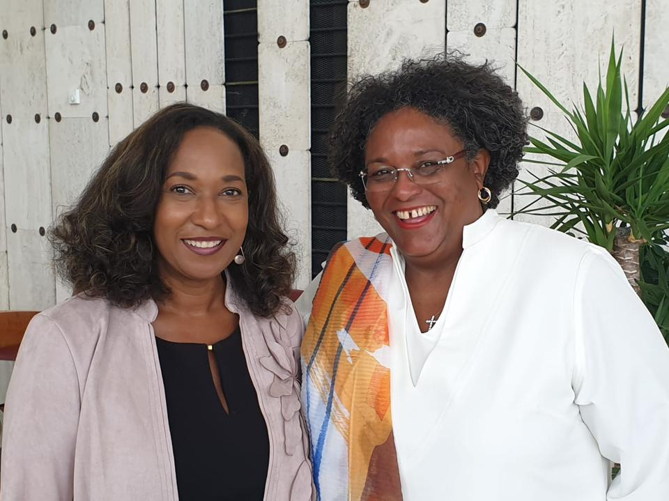 L-R, Pamela Coke Hamilton, Director, International Trade and Commodities, UNCTAD and Prime Minister of Barbados, the Honourable Mia Amor Mottley