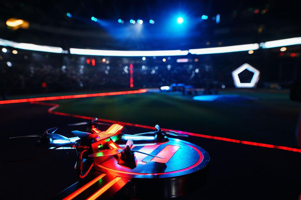 DRL Racer4 drone on launch podium at Chase Field