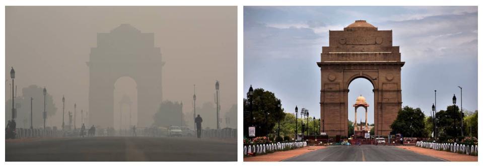 Delhi's India Gate before and after Coronavirus lockdown.