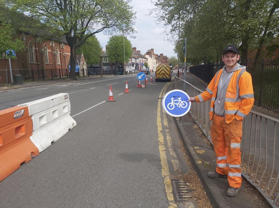 Leicester's pop-up cycleway.