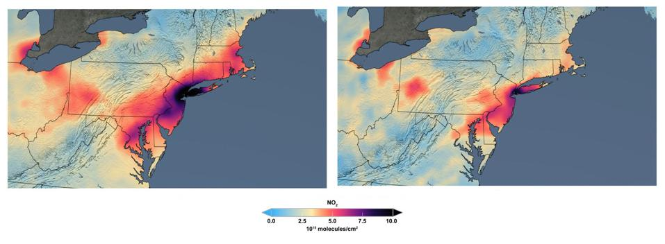 Comparing the concentration of nitrogen dioxide in March 2015-19, versus March 2020.