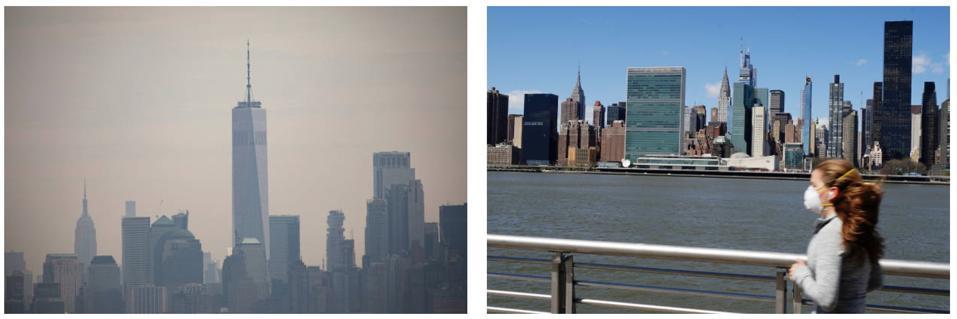 New York City skyline before vs after coronavirus.