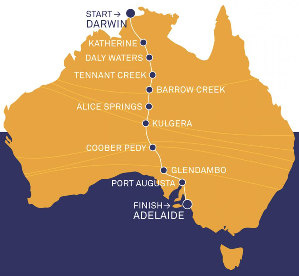 The 1,870 mile route starts from Darwin and ends in Adelaide.