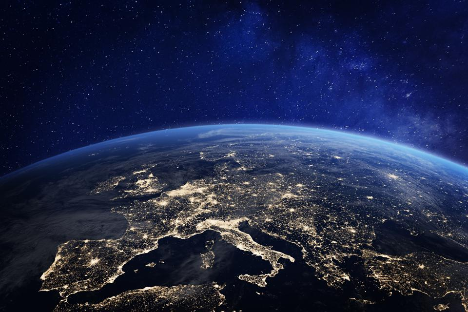 Europe and North Africa at night from space, city lights, elements from NASA