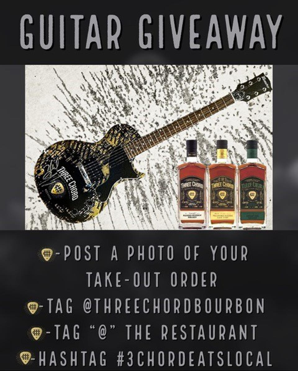 Eat takeout from local restaurants, then tag photos for a chance to win a guitar.