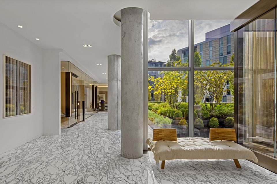 The Conrad Hotel in Washington DC features a light filled, open atrium that is sparsely set and meant for contemplation, inspiration and now for seclusion. The hotel has several outdoor terrace gardens that allow guests to have access to fresh air and outdoor living rooms for ″safe″ socializing.