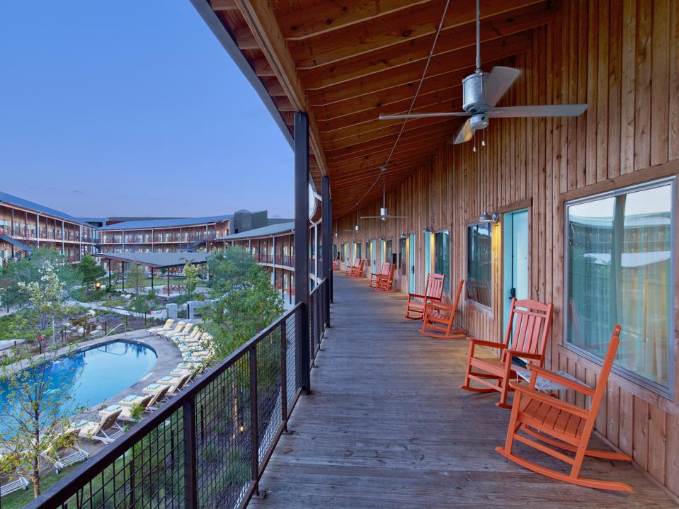 There are no elevators and no confined spaces at the Rottet-designed Lone Star Court in Austin, Texas. The hotel also offers open spaces such as wide porches outside of guest rooms that are ideal for safe social distancing.
