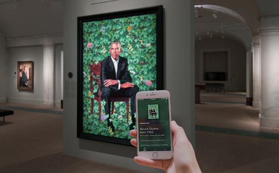 Portrait of President Barack Obama by Kehinde Wiley in the National Portrait Gallery, Smithsonian Institution in Washington DC, Smartify app