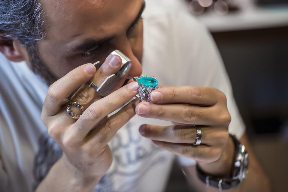 The designer up close with a Paraiba tourmaline