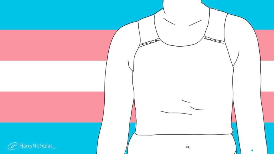 Trans flag with transgender person using a binder