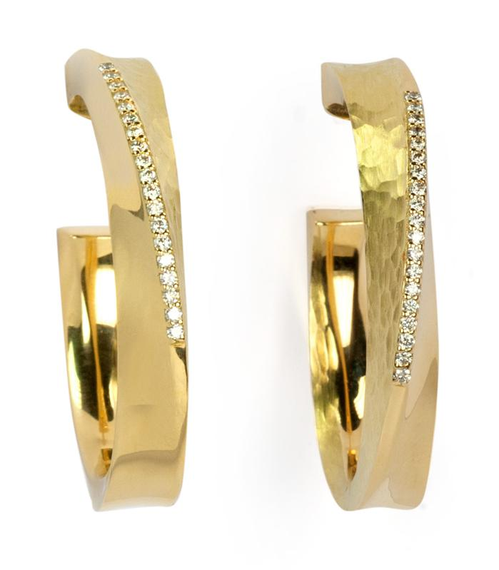 Hula Hoop Earrings by Vendorafa  -- 18K hand hammered and polished with pave white diamonds