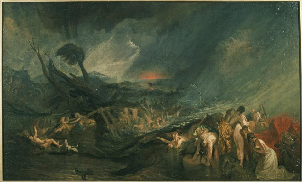 J.M.W. Turner (1775–1851). 'The Deluge,' exhibited 1805 (?). Oil on canvas, 56 1/4 x 92 3/4 in. Tate: Accepted by the nation as part of the Turner Bequest 1856.