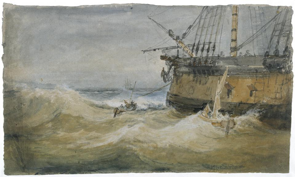 J.M.W. Turner (1775–1851). 'Small Boats beside a Man-o'-War,' 1796–97. Gouache and watercolor on paper, 13 7/8 x 24 1/4 in. Tate: Accepted by the nation as part of the Turner Bequest 1856.