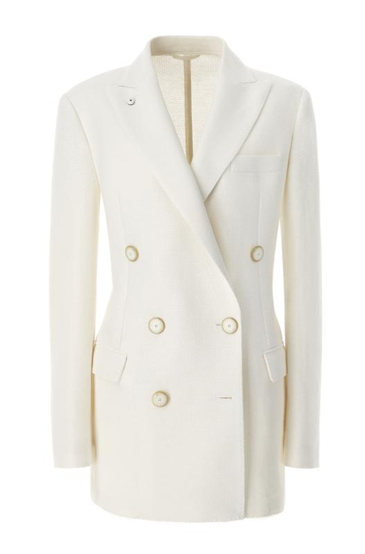 The double breasted feature, the extra length and peak lapels, give this power blazer