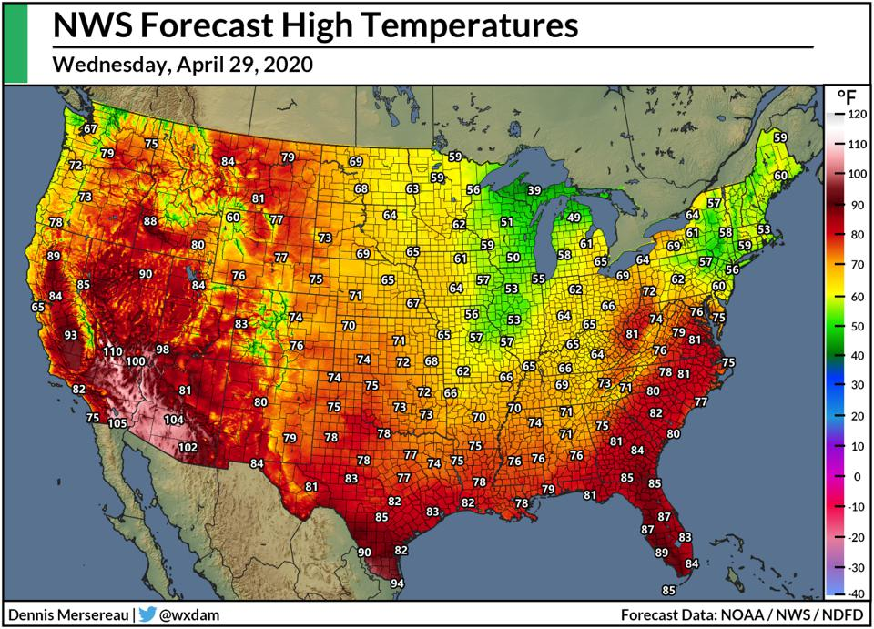 The National Weather Service's high temperature forecast for April 29, 2020.
