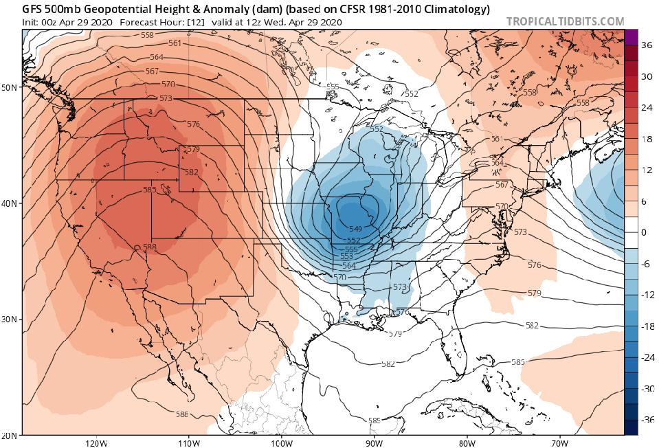 A model image showing a ridge of high pressure over the western United States.
