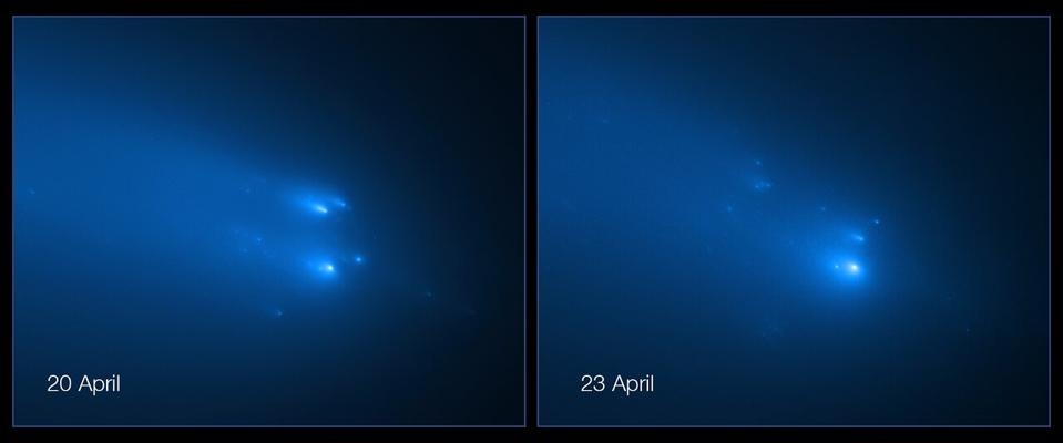 The NASA/ESA Hubble Space Telescope has provided astronomers with the sharpest view yet of the breakup of Comet C/2019 Y4 (ATLAS). The telescope resolved roughly 30 fragments of the fragile comet on 20 April and 25 pieces on 23 April.