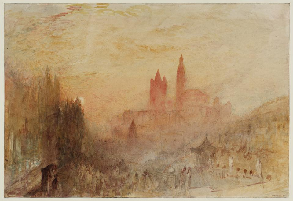 J.M.W. Turner (1775–1851). 'Lausanne: Sunset,' 1841–42. Graphite and watercolor on paper, 9 7/8 x 14 3/8 in. Tate: Accepted by the nation as part of the Turner Bequest 1856.