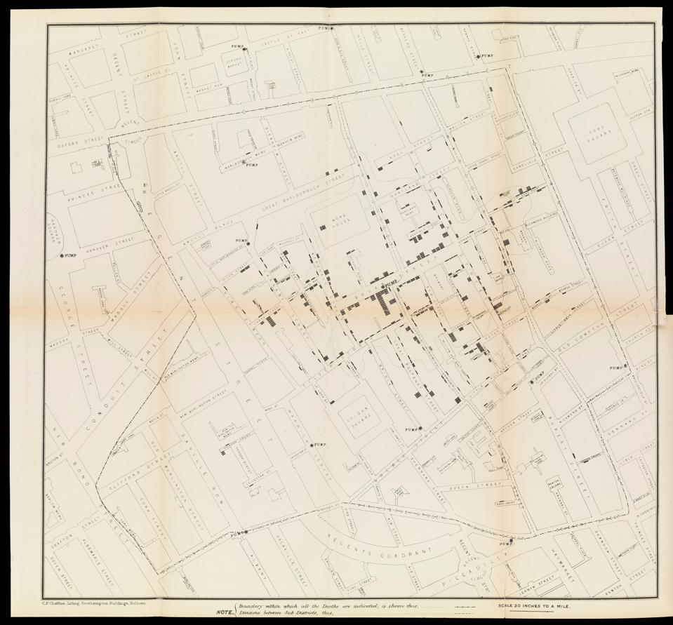 A map with marks indicating where cholera patients lived.