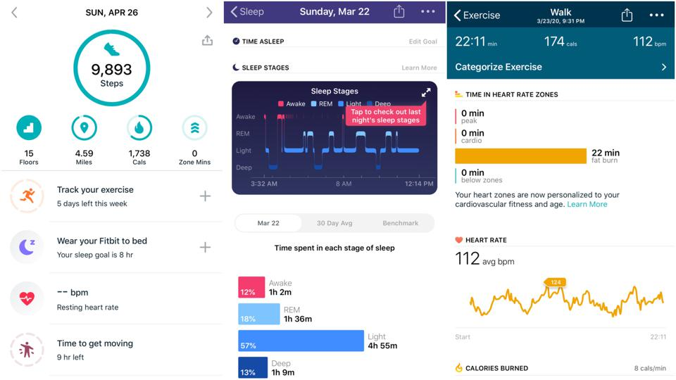 Screenshots from Fitbit's companion app.