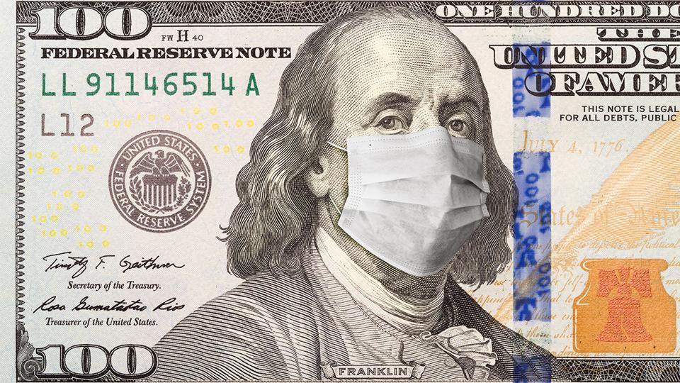 Ben Franklin on $100 bill wearing face mask