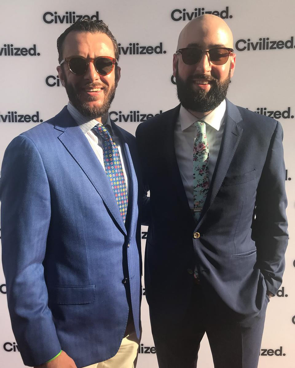 Jeff & Luke at the Cannabis Business Awards in front of the Civilized Magazine backdrop