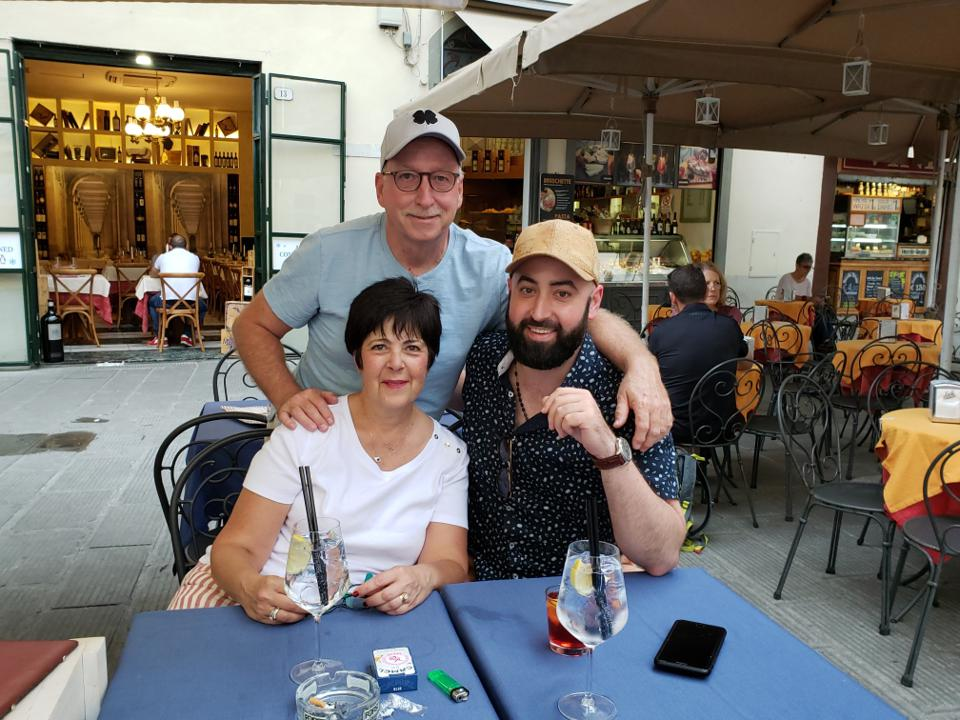 Jeff and his parents in Italy.
