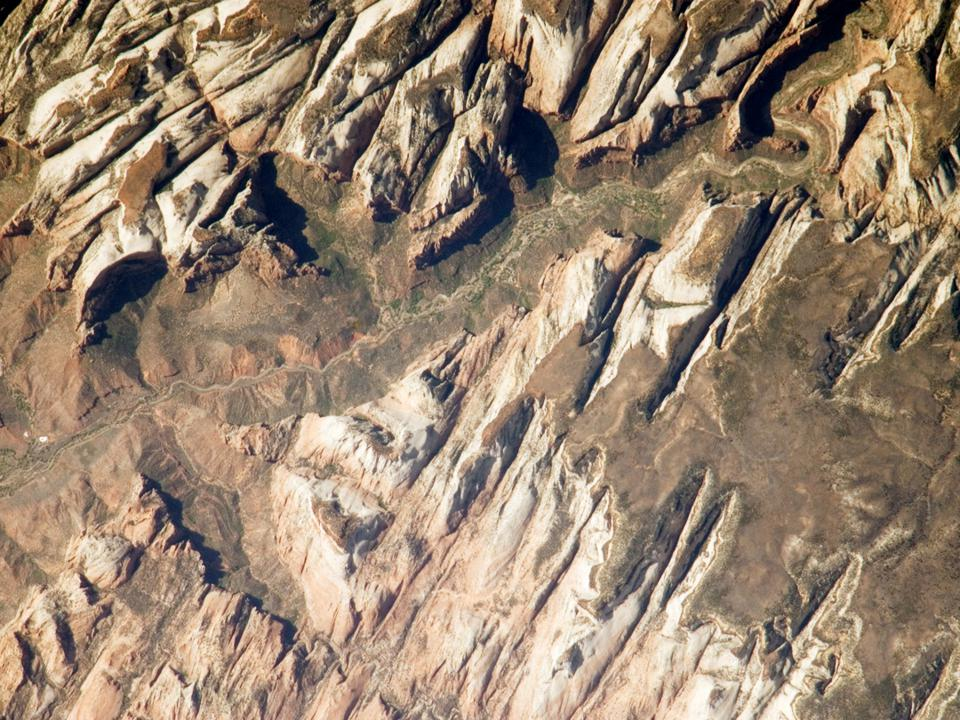Zion National Park as photographed by an astronaut aboard the ISS.