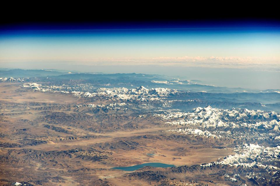 The Himalayan range as photographed by an astronaut aboard the ISS.