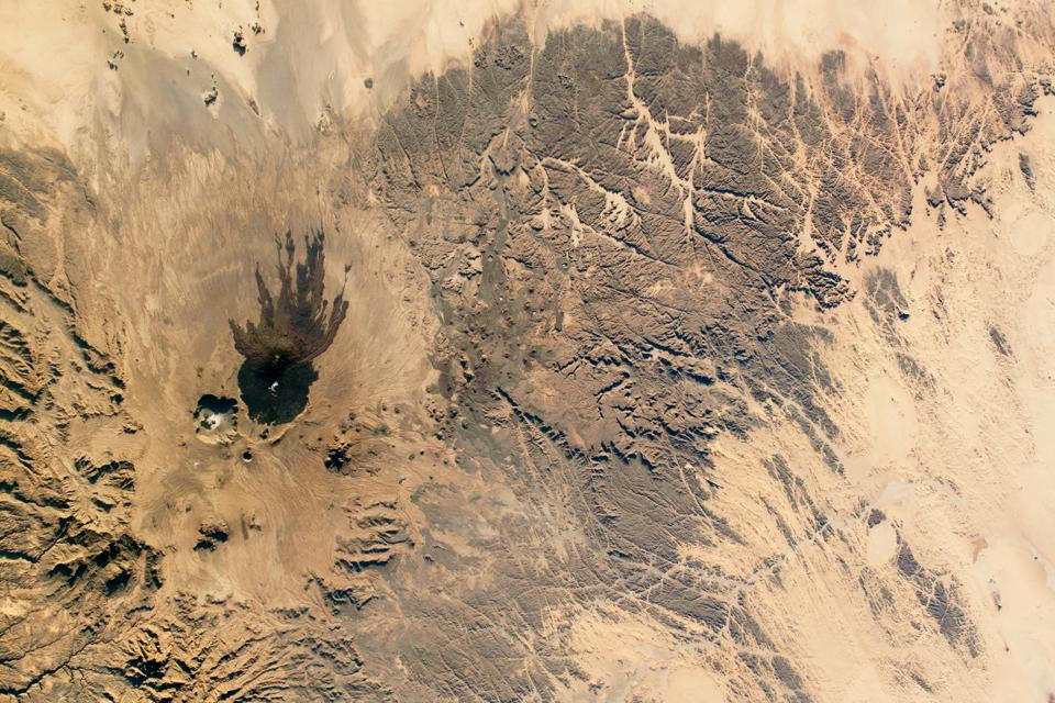 A photograph of desert contrasts in Chad, North Africa, as photographed aboard the ISS.