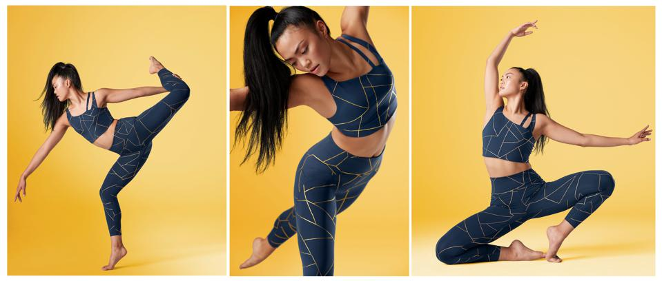 New Balance yoga outfit, navy top and leggings with gold geometric lines