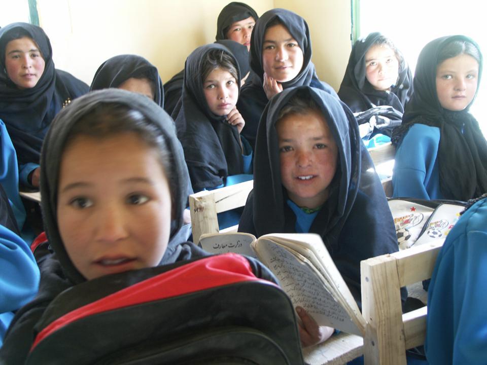 Afghanistan girls in school.