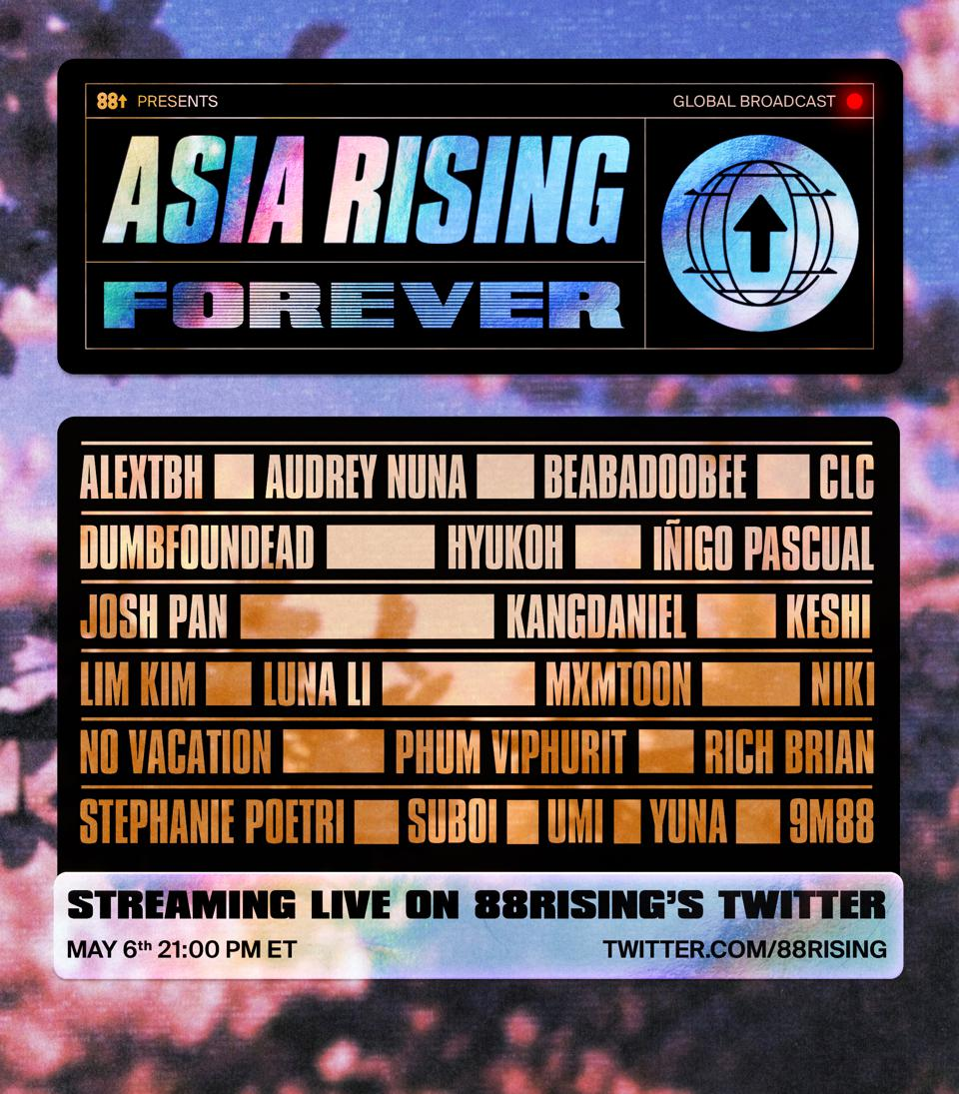 Asia Rising Forever festival lineup feat. Kang Daniel, Rich Brian, NIKI, CLC, 88rising