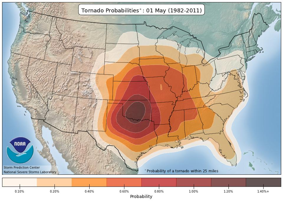 The climatological probability of a tornado within 25 miles of any point on May 1.