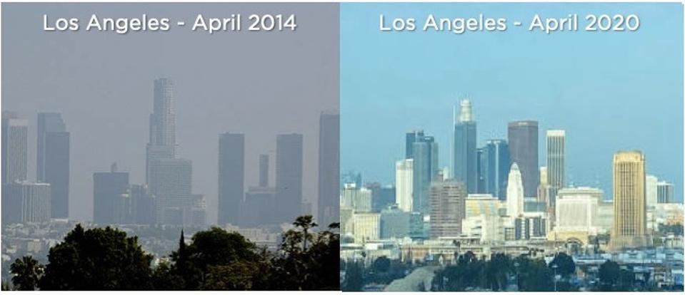 Los Angeles Skyline April 2014 vs. April 2020