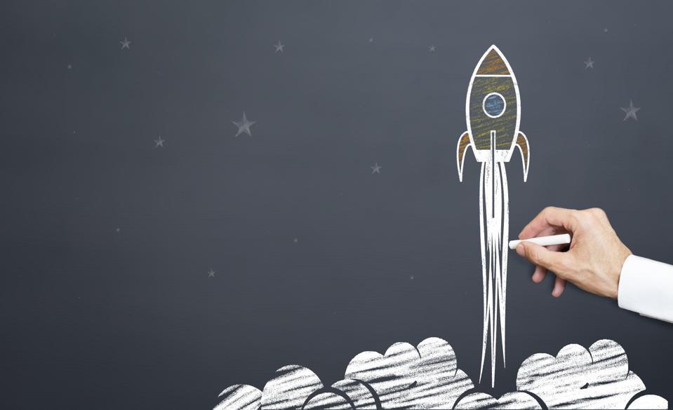 man draws rocket launching